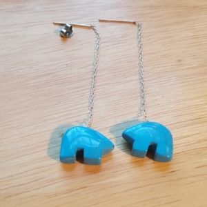 Turquoise Zuni bear dangle earrings